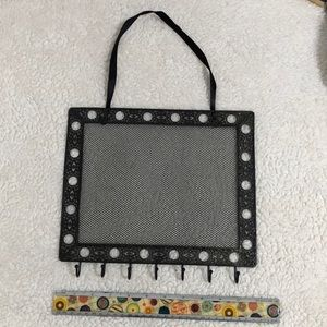 Metal frame earring and necklace holder